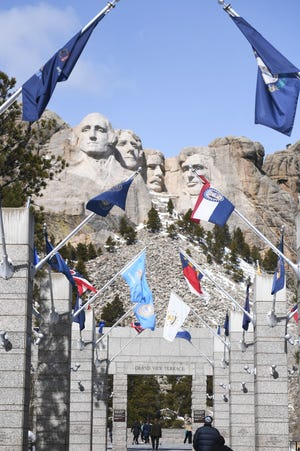 Mount Rushmore Sunday, March 17, in Keystone.