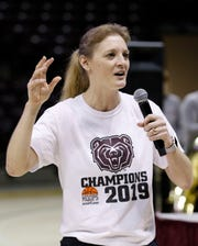 On Monday, Lady Bears coach Kellie Harper and her team celebrated their placing in the NCAA Tournament at a bracket reveal party at JQH Arena.