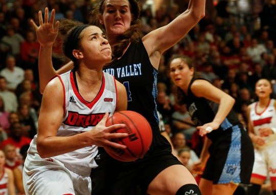 Drury defeated Grand Valley 51-44 to win the NCAA Division II Midwest Regional Championship game at the O'Reilly Family Event Center on Monday, March 18, 2019.