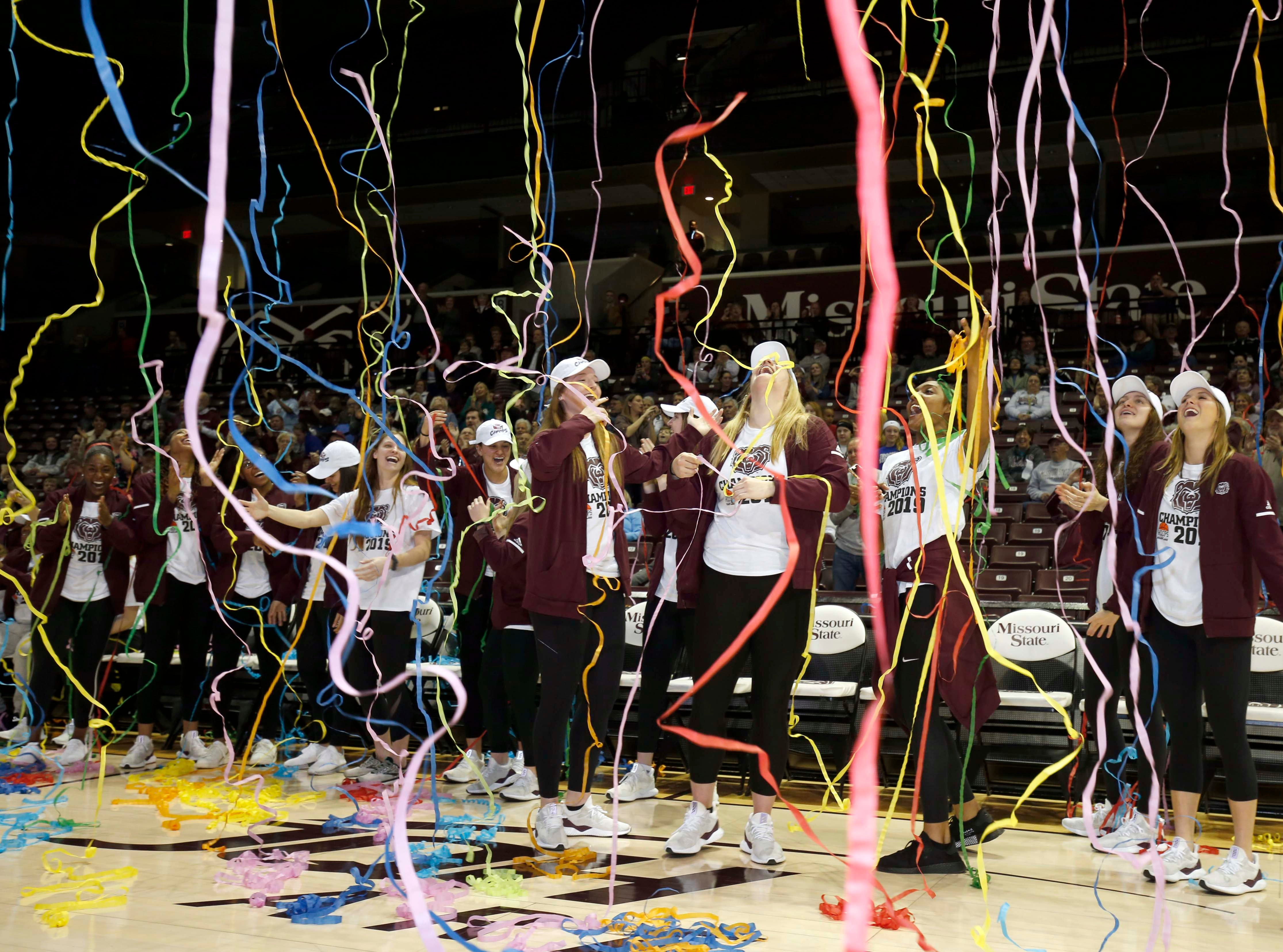 The Lady Bears celebrate their placing in the NCAA Tournament bracket at JQH Arena on March 18, 2019.