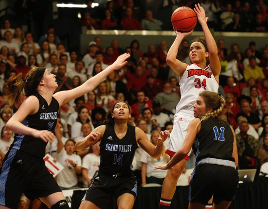 Hailey Diestelkamp puts up a shot during Drury's game against Grand Valley in the NCAA Division II Midwest Regional Championship game at the O'Reilly Family Event Center on Monday, March 18, 2019.