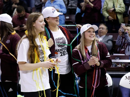 The Lady Bears celebrate their placing in the NCAA Tournament bracket on March 18, 2019.