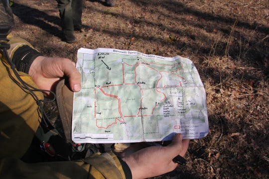 Nature Conservancy fire teams burned 100 acres at the 920-acre Bennett Spring Savanna Preserve on Monday.