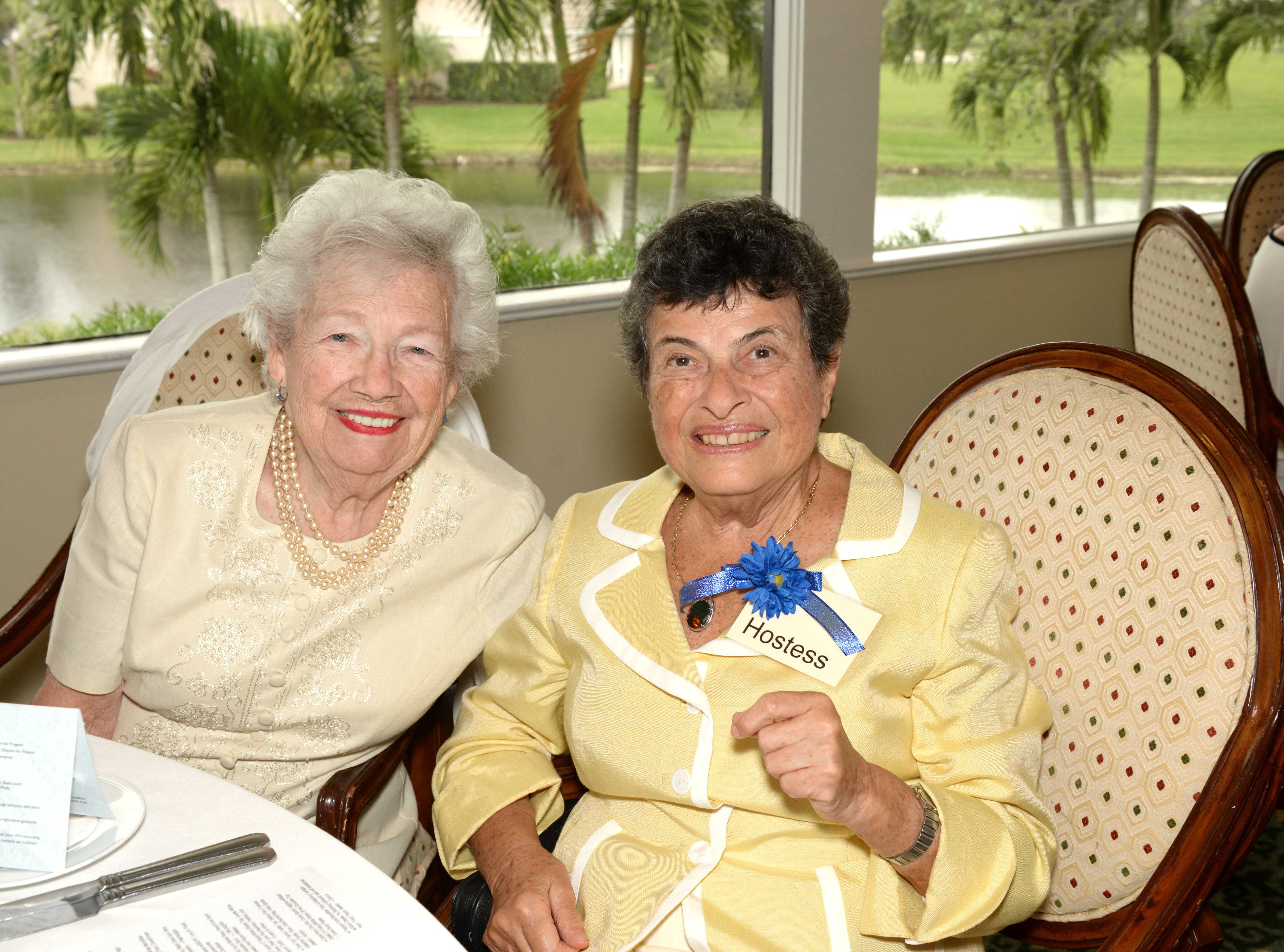 Ruth Perry, left, and Susan Zukotynski at Mariner Sands Country Club for the Sapphire Anniversary party of the American Association of University Women Stuart Branch.