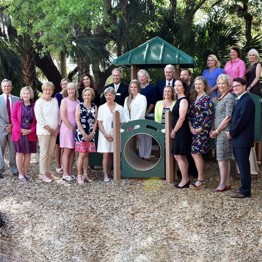 Original and current Childcare Resources Board of Directors pose on the playground of the Childcare Resources School. Pictured are, from left, front row, Tony Donadio, Linda Downey, Sherry Waddell, Joy Lambert, Carol Buhl, Barbie Horton, Sara Labellarte, Katy Block Healy, Susan Donovan, Janie Graves Hoover, Mary Graves and Patrick Farrah; back row, Jeannette Corbett, Tracy Sorzano, John Hendricks, Cindy Hultquist, Brian Baker, Richard Giessert, Jennifer Peshke, Ginny Glazer and Karla Spooner.