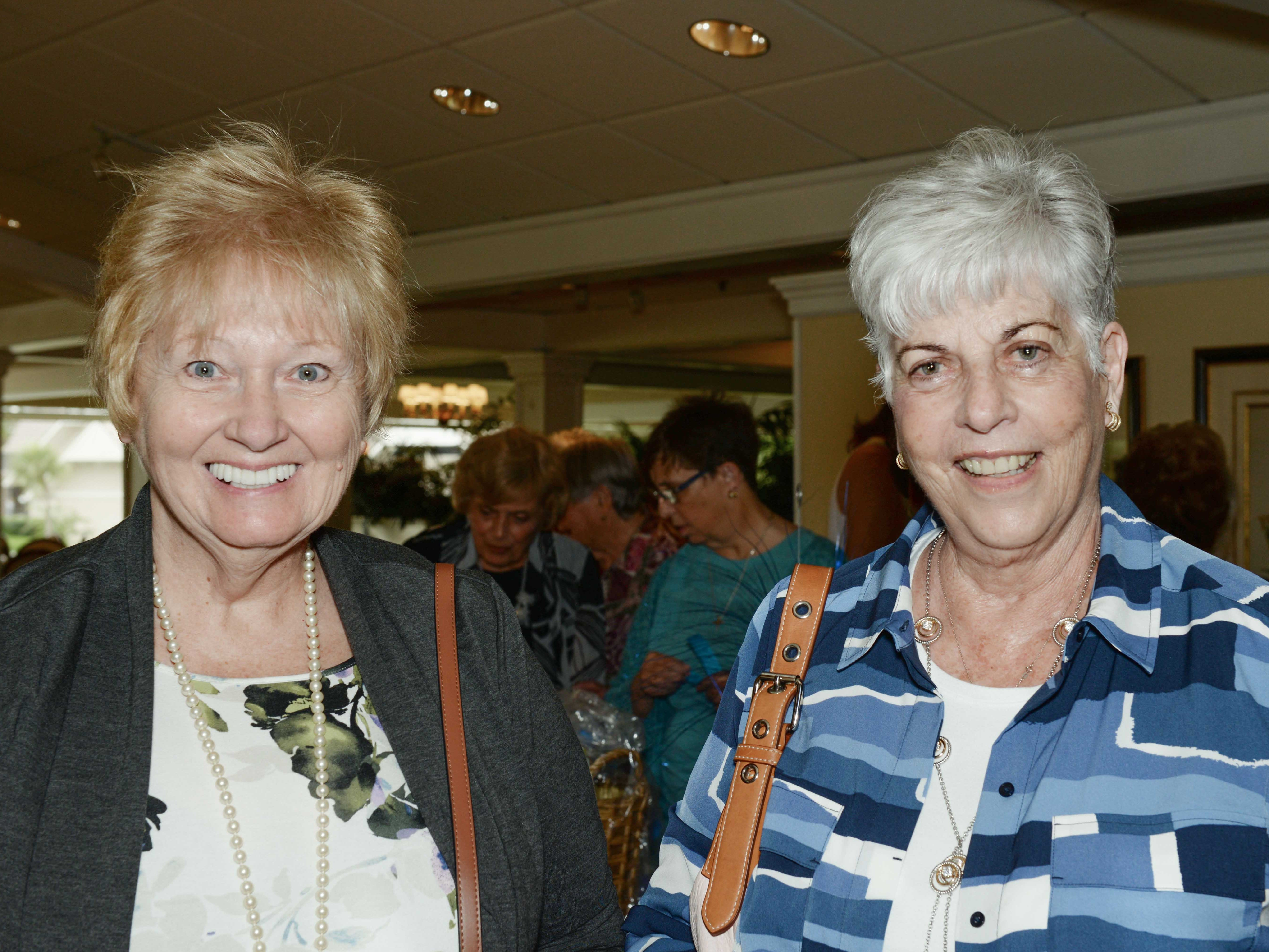 Karen Doster, left, and Sigrid Doster at the Sapphire Anniversary luncheon of the American Association of University Women Stuart Branch at Mariner Sands Country Club.