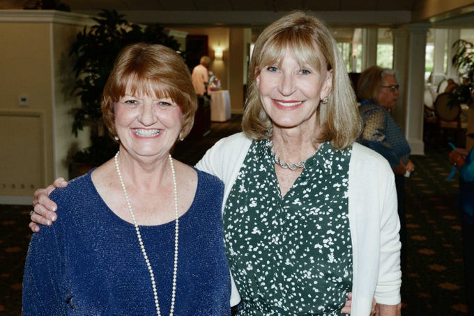 Dianne Pierce, left, and Frances Knobel at the Sapphire Anniversary luncheon of the American Association of University Women Stuart Branch. Pierce is current president of the club.