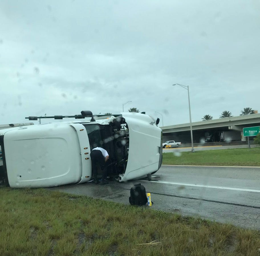 Northbound ramp onto I-95 reopens after tractor-trailer flips in Indian River County