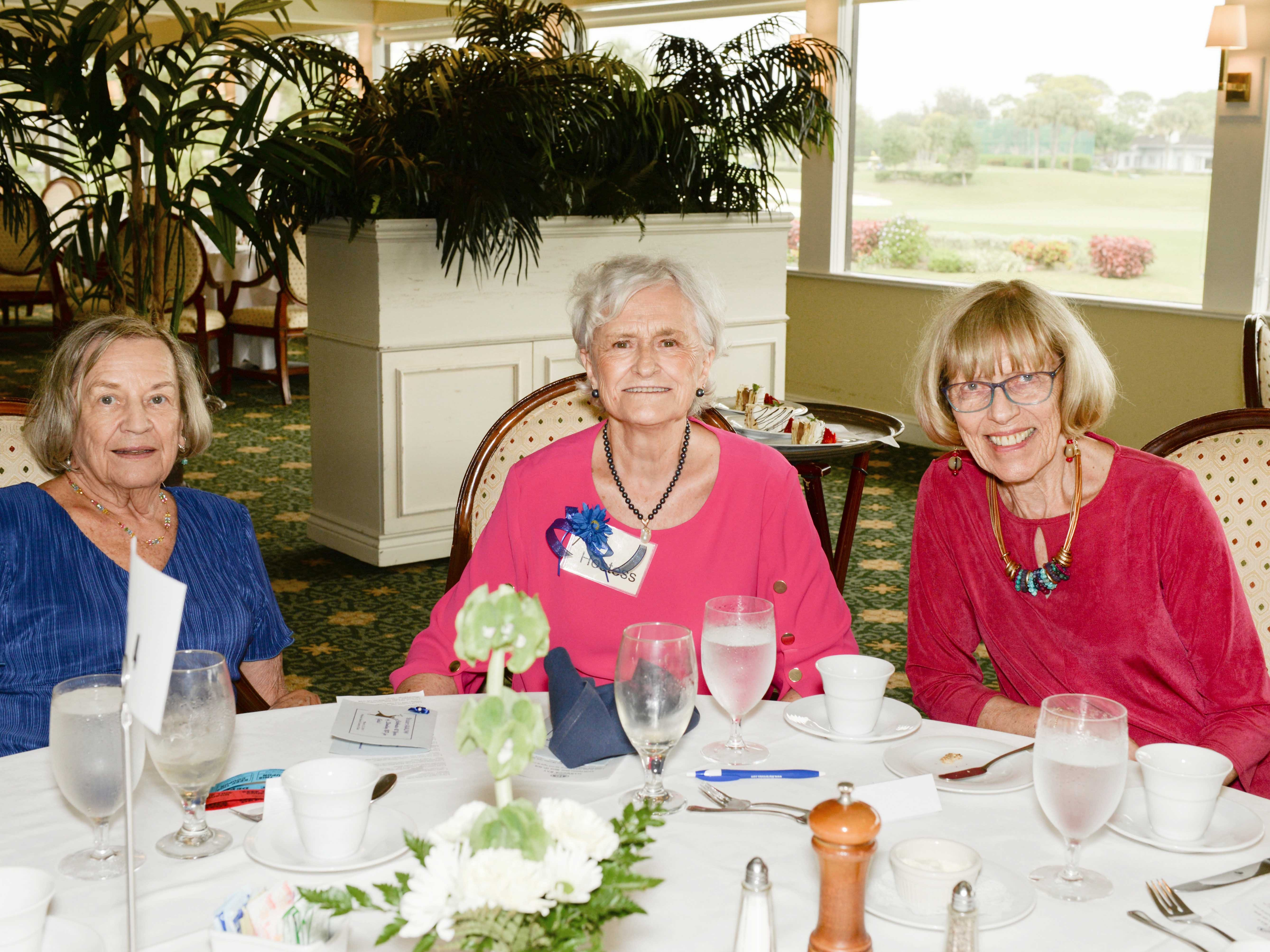 Theresa Boucher, left, Ruthellen Riffe and Joan Bizousky at the Sapphire Anniversary luncheon of the American Association of University Women Stuart Branch.