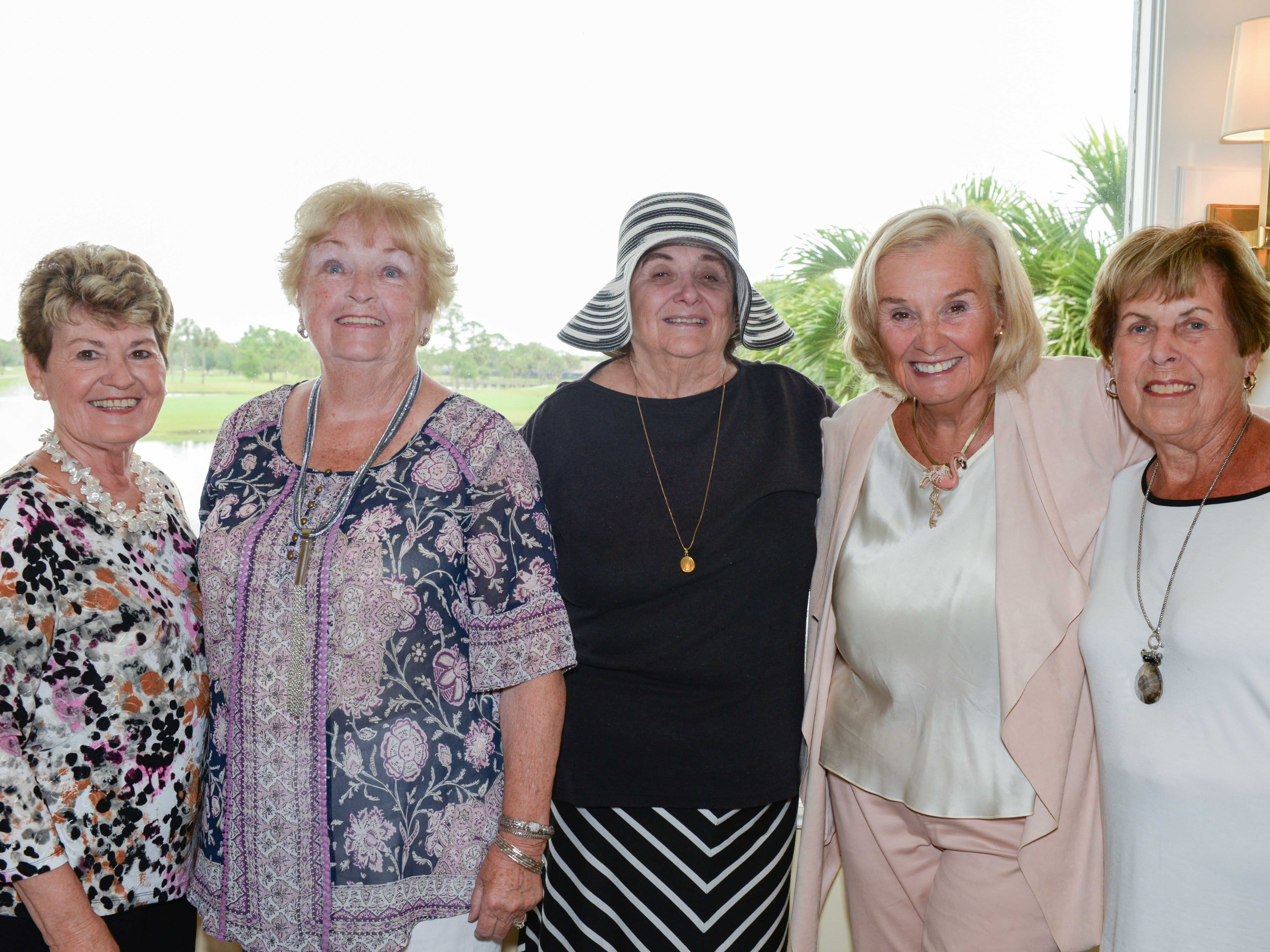 Florence Gantt, left, Lorraine Maloney, Jan Gaudin, Marikate Barnes and Judy Walker at the Sapphire Anniversary luncheon of the American Association of University Women Stuart Branch at Mariner Sands Country Club.