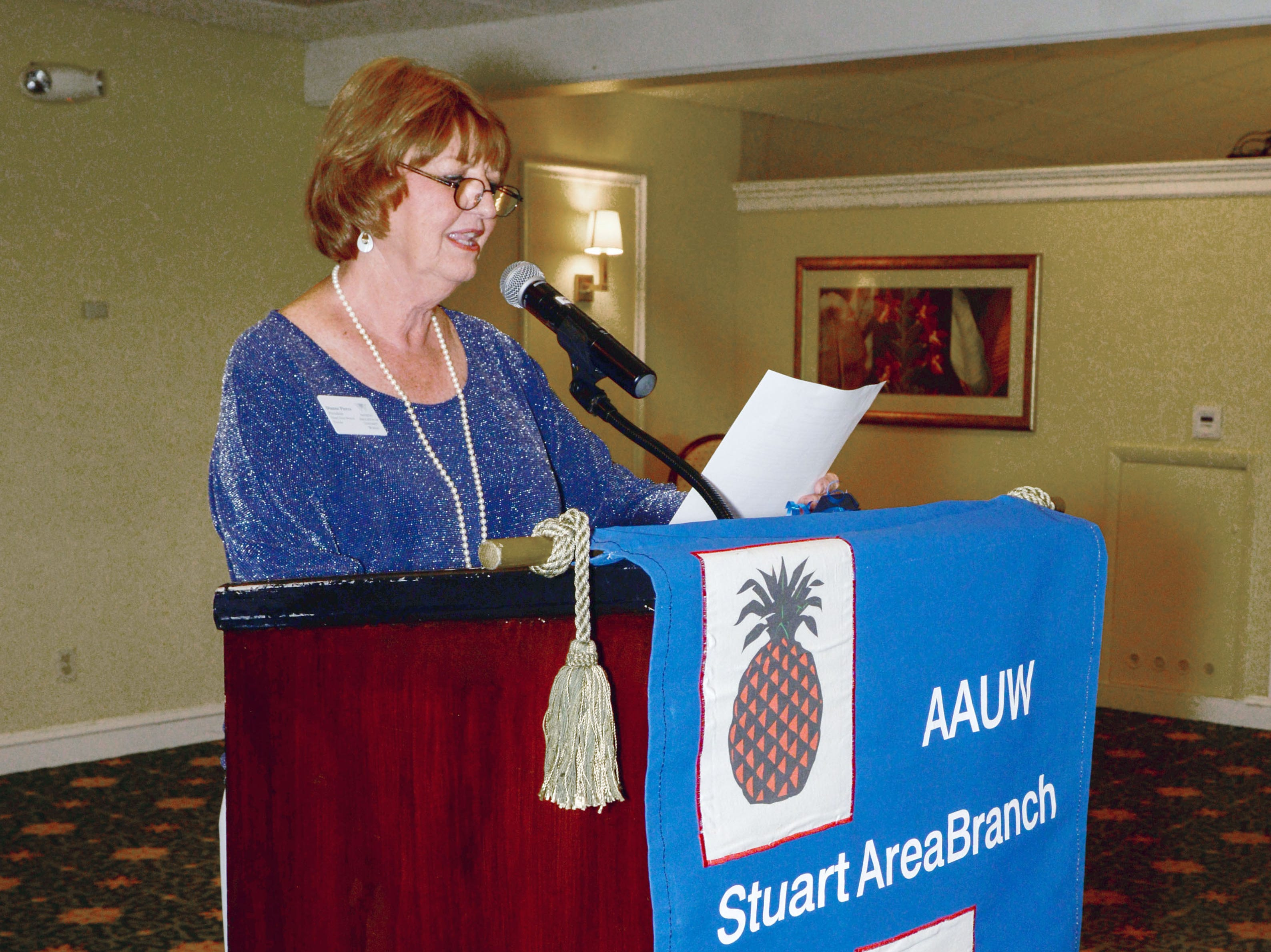 """AAUW Stuart Branch President Dianne Pierce: """"It is fitting that we are here in March, Women's History Month. We make history every month."""""""