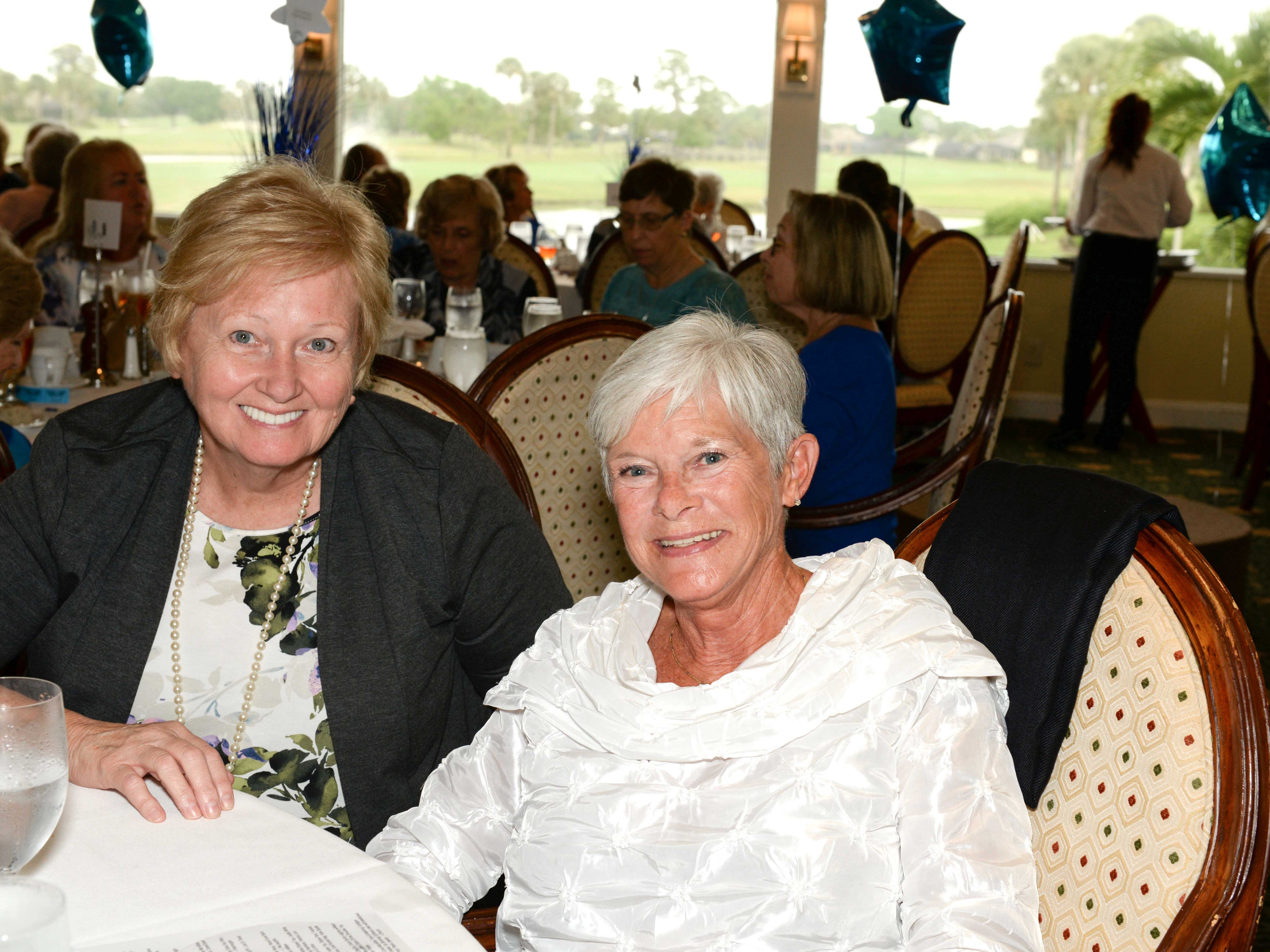 Karen Doster, left, and Mary White at Mariner Sands Country Club for the Sapphire Anniversary party of the American Association of University Women Stuart Branch.