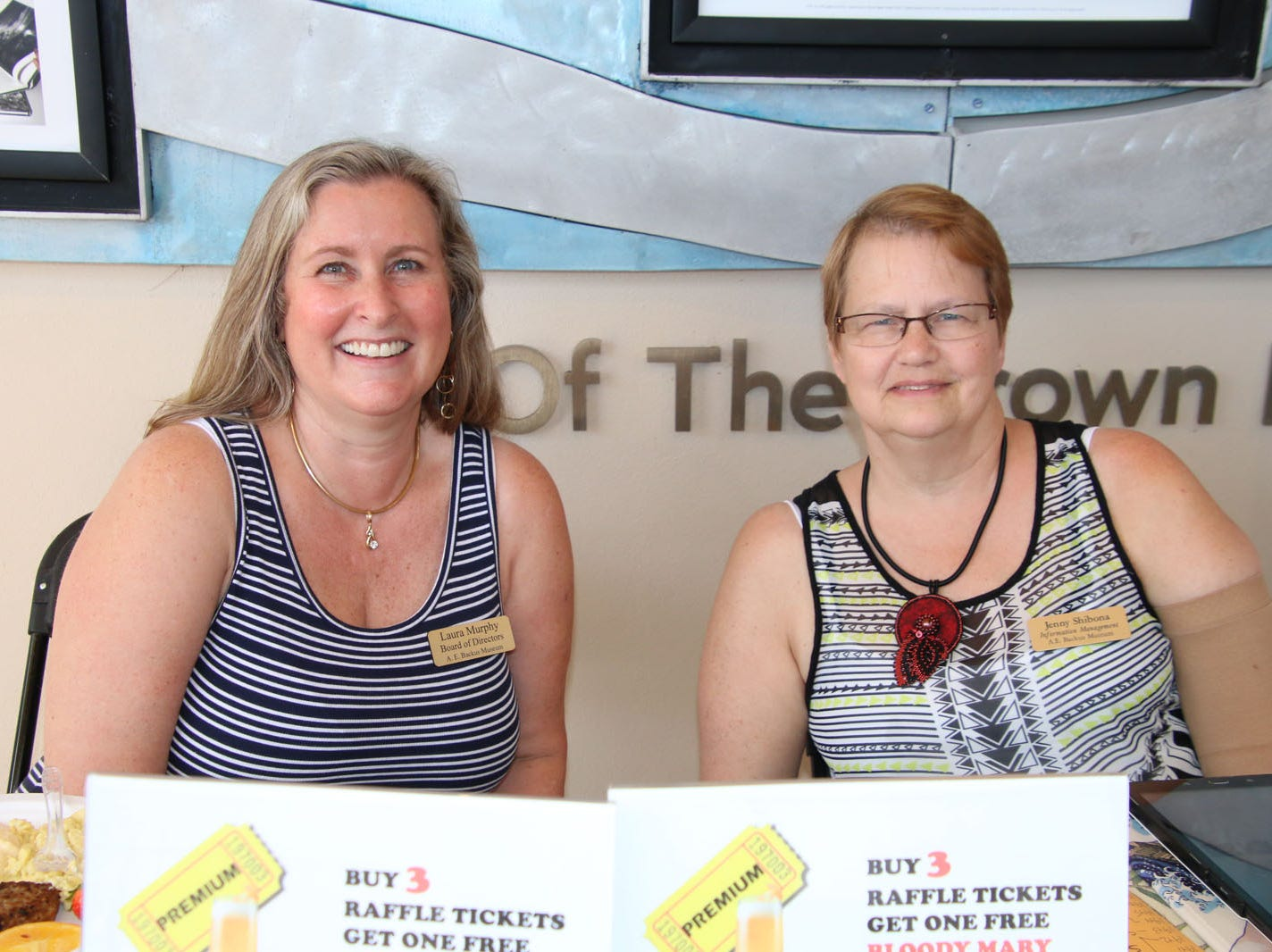 """Laura Murphy, left, and Jenny Shibona at the 23rd annual Backus Brunch at  A.E. """"Bean"""" Backus Museum & Gallery."""