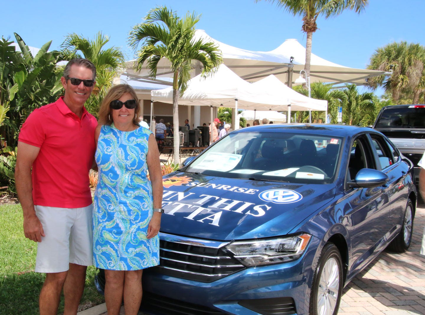 """Sponsor Sunrise Ford and Sunrise Volkswagen's Mike Wetzel, left, and Mary Jo Tierney at the 23rd annual Backus Brunch at  A.E. """"Bean"""" Backus Museum & Gallery in Fort Pierce."""