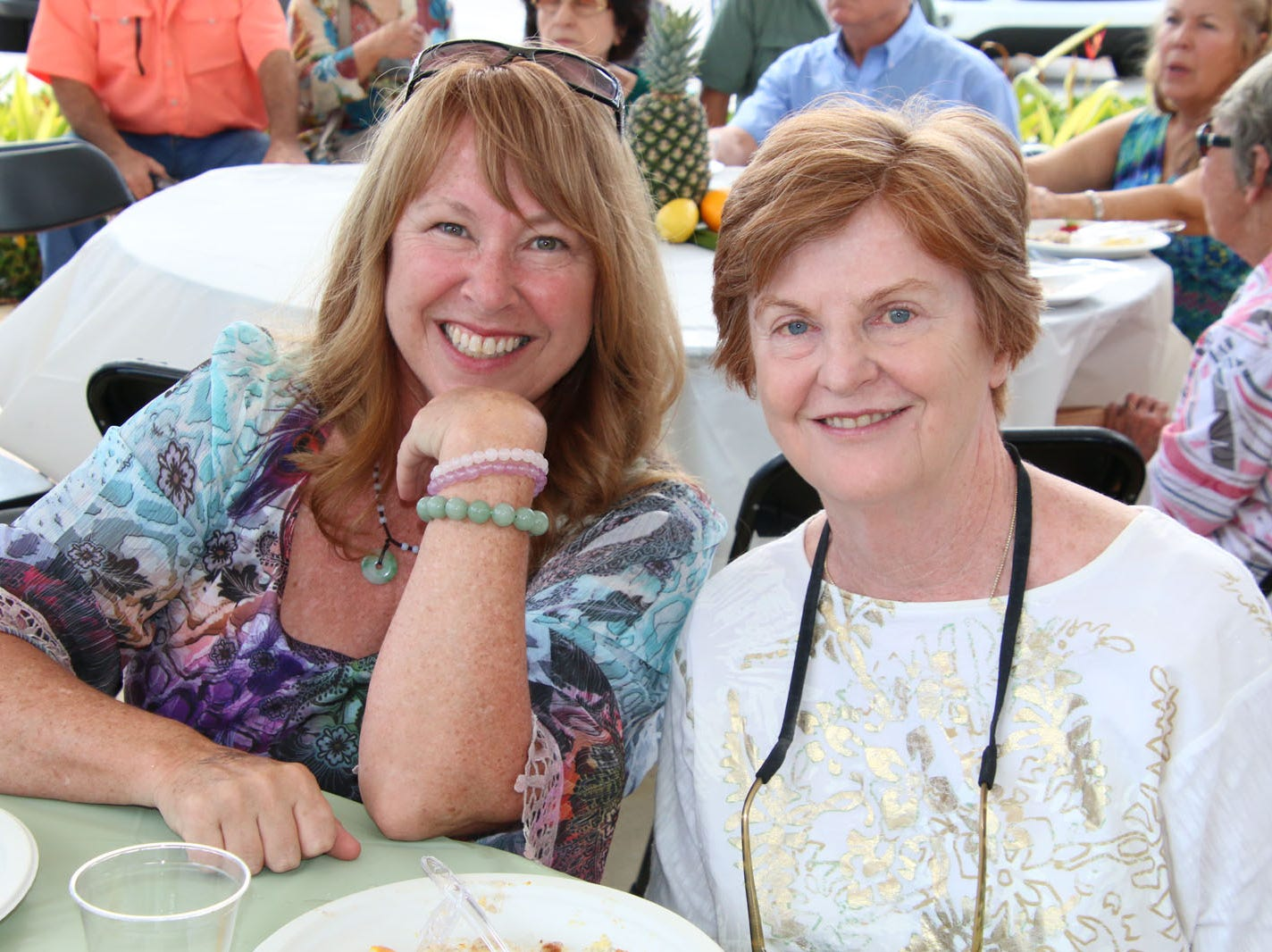 """Barbara Unger-Lengen, left, and Marg Mackey at the 23rd annual Backus Brunch at  A.E. """"Bean"""" Backus Museum & Gallery."""