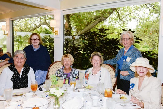Tanya Shapiro, left, Sarah Goldfarb, Donna Thaagaard, Ann Noyes, Sheila Leach and Linda Grand at the 45th Anniversary luncheon of the American Association of University Women Stuart Branch.