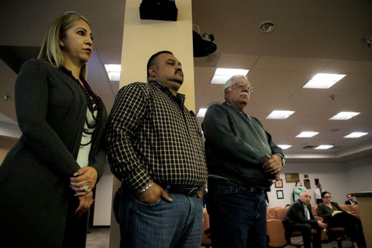 Iliana Gomez, Marco Gomez, co-owners of Magic Stone Granite and Andy Echaniz co-owner of Bomanite Artistic Concrete & Pools at Tuesday's City Council meeting.