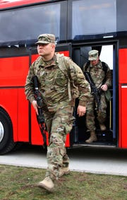 Soldiers with 2nd Armored Brigade Combat Team, 1st Armored Division from Fort Bliss, arrive at Drawsko Pomorskie Training Area, Poland. The soldiers are in Poland to test their unit readiness as part of an emergency deployment readiness exercise.