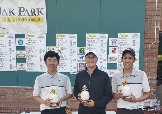 The Oak Park boys golf team finished first at its own tournament, the Oak Park Invitational, on Monday at North Ranch Country Club.
