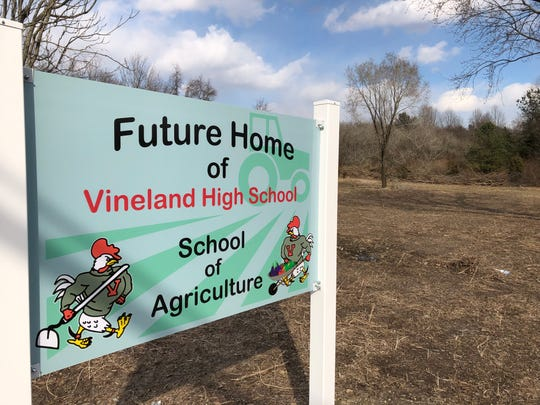 A sign posted on Brewster Road, near Chestnut Avenue, heralds the arrival of a new course of study at Vineland High School.