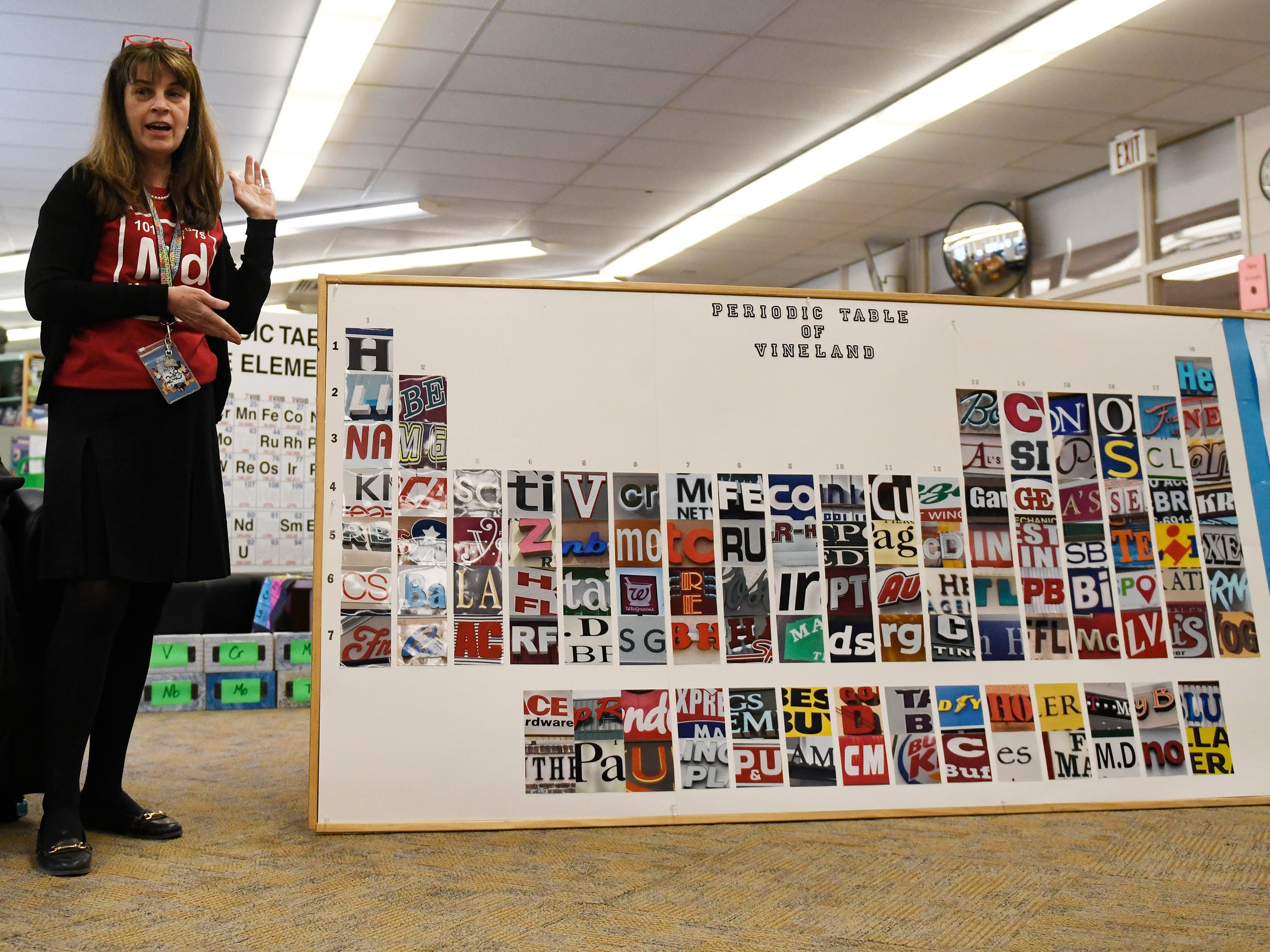 Vineland High School science teacher Vicki Yeager unveiled a Periodic Table of Vineland with each element representing a location in town. The 150th anniversary of the creation of the Periodic Table was celebrated during a special event in the school's library on Tuesday, March 19, 2019.