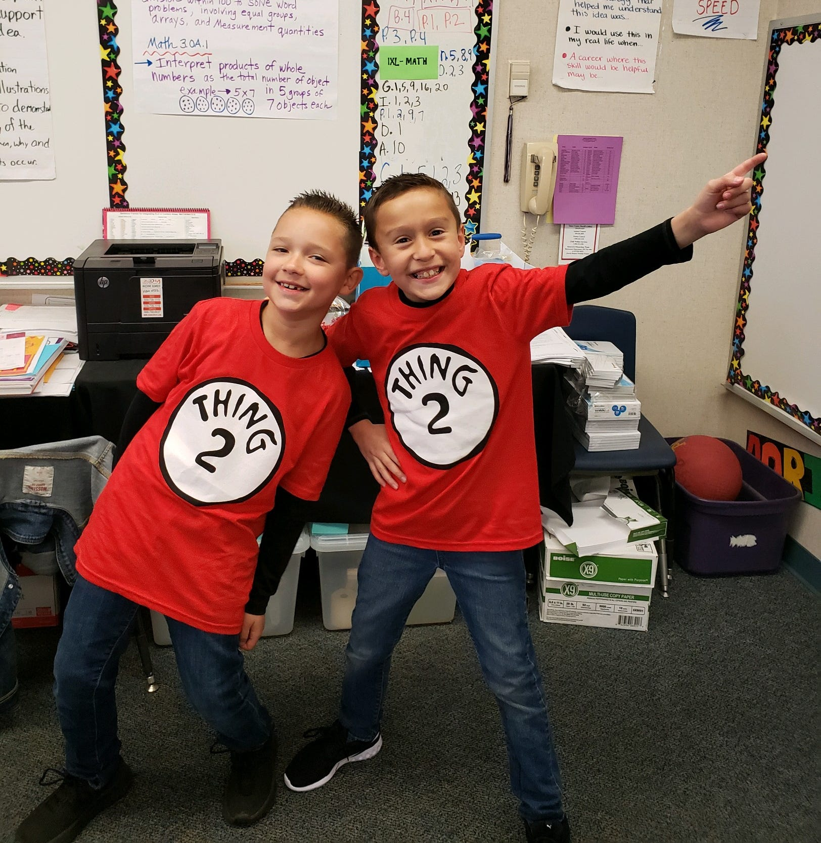 Best friends Jake Robison, 9, pictured left, and Colton Domingues play in their third-grade classroom at Linwood Elementary.