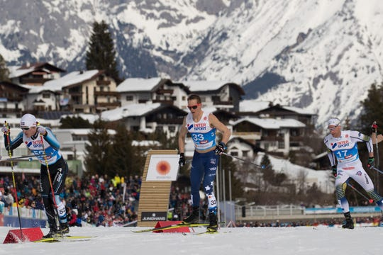 A bare-armed Adam Martin competes in the World Championship 50-kilometer freestyle cross country ski race on March 3 in Seefeld, Austria.