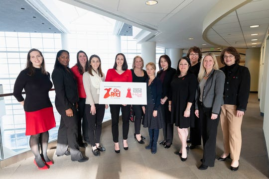 Some members of the American Heart Association, Go Red For Women Executive Leadership Team attended a meeting recently at Fujifilm. Show here are: Megan Lucas, Regional Director, American Heart Association; Vincere Japal, Associate General Counsel, FUJIFILM Holdings America Corporation; Carolyn Gordon, Director Benefits, FUJIFILM Holdings America Corporation; Kaitlin Triano, Director, Go-To-Market/ Commercialization, Mastercard International; Go Red For Women Campaign Chair, Judy Melillo, VP General Counsel & Secretary, FUJIFILM Holdings America Corporation; Maureen Adams, RN, Clinical Director, WestMed Group;  Dawn French, Senior Vice President, Marketing and Development, White Plains Hospital; Doreen Salvati, Branch Manager, Peoples United Bank; Jennifer Miller, Senior Regional Director, American Heart Association; Laura Rey Iannarelli, Owner, Rey Insurance Company; Juliann, O'Meara, Partner, Wilson, Elser, Moskowitz, Edelman and Dicker, LLP; and Silvana, Spinozzi, Financial Advisor, Mass Mutual.