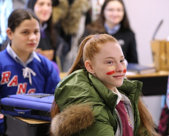 Eighth-graders dress for Purim at Ateres Bais Yaacov Academy in New Hempstead March 18, 2019.