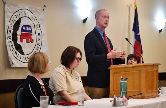 Congressman Mac Thornberry speaks during the Wichita County Republican Women's luncheon Tuesday afternoon at Luby's.