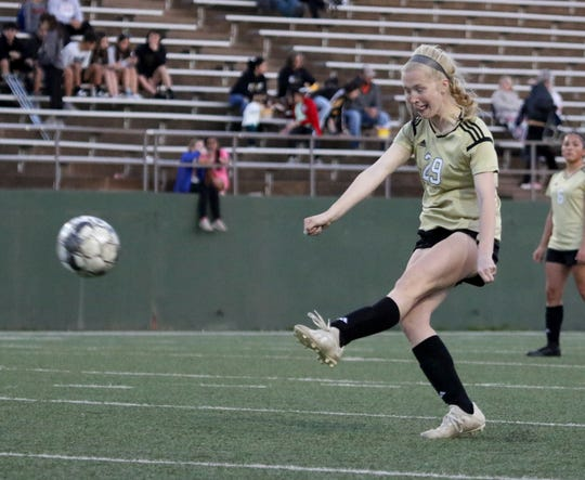 Rider's Mindy Shoffit attempts a shot on the Wichita Falls High School goal Monday, March 18, 2019, at Memorial Stadium. The Lady Raiders defeated the Lady Coyotes 3-1 to take the district championship.