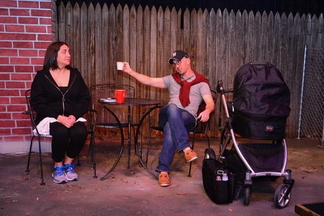 "Former Manhattan attorney Jessie (Sarah Granados-Deal), and Mitchell (Rob Kirkland) the husband of jewelry designer Adrienne (Heather Phillips), star in a play about young parenthood, ""Cry It Out,"" opening at 7:30 p.m. tonight and Saturday and then Thursdays, Fridays and Saturdays through April 13. An optional dinner begins at 6:30 p.m."