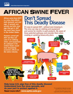 The USDA is releasing four infographics to help increase awareness of African swine fever in an attempt to protect U.S. pigs from this deadly disease.