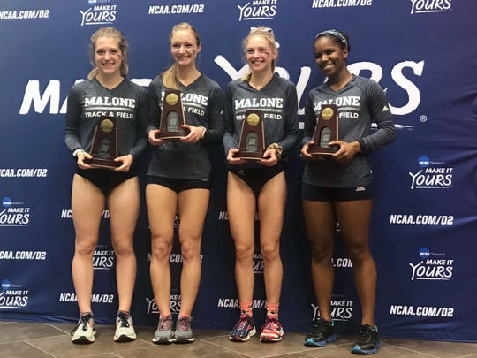 Morgan grad Jasmine Penrod, left, was part of Malone Univesity's distance medley relay team that placed sixth in the NCAA Division II Indoor National Championships in early March. They were the first indoor team to earn All-American status in school history.