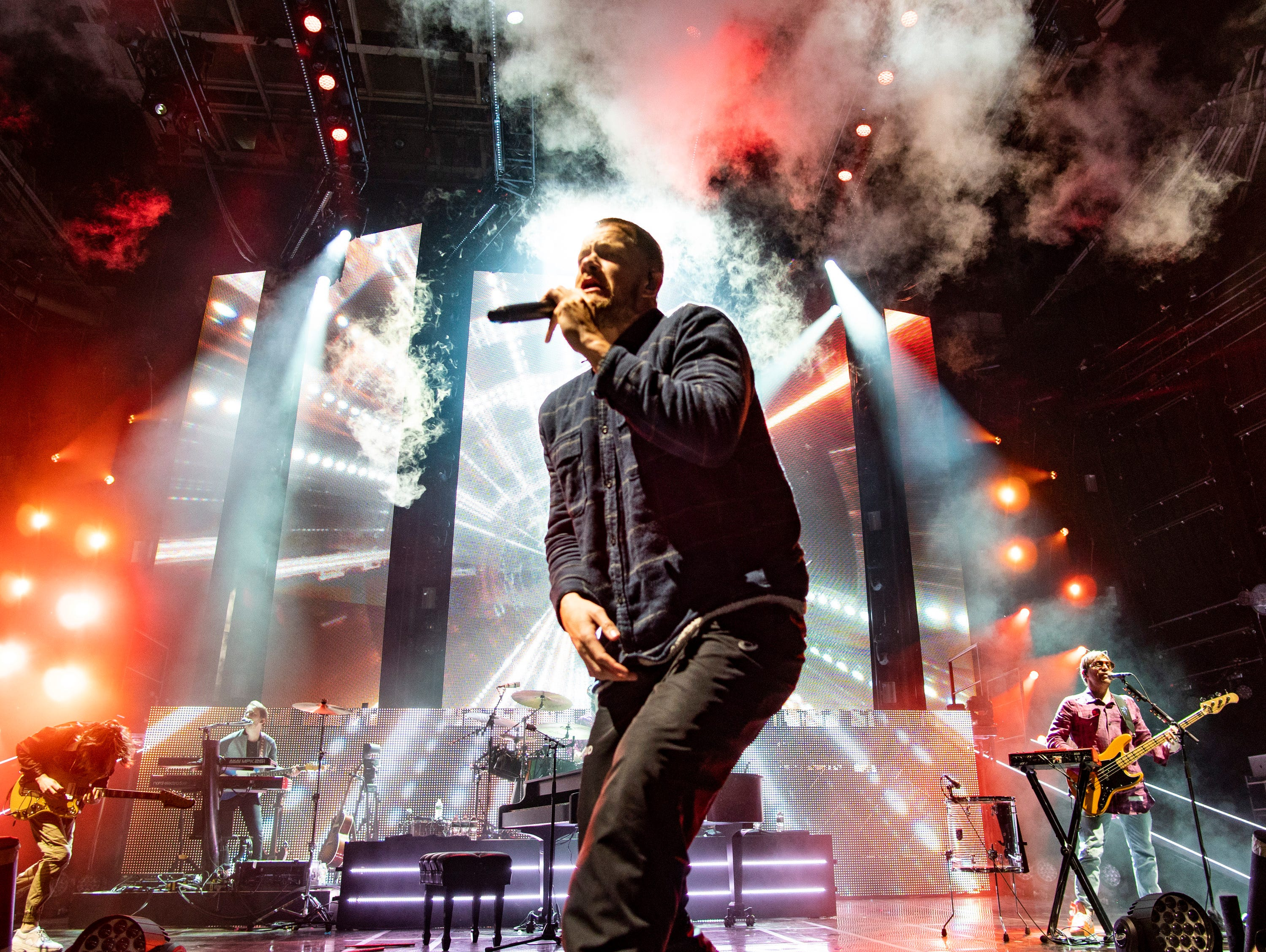 The American pop rock band Imagine Dragons with lead vocalist Dan Reynolds performs at the Xfinity Center, Wednesday, June 6, 2018, in Mansfield, Mass. (Photo by Robert E. Klein/Invision/AP) ORG XMIT: REK105