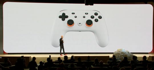 Google vice president and general manager Phil Harrison on stage during Google's announcement of its Stadia video game platform at the Game Developers Conference Tuesday, March 19, in San Francisco.