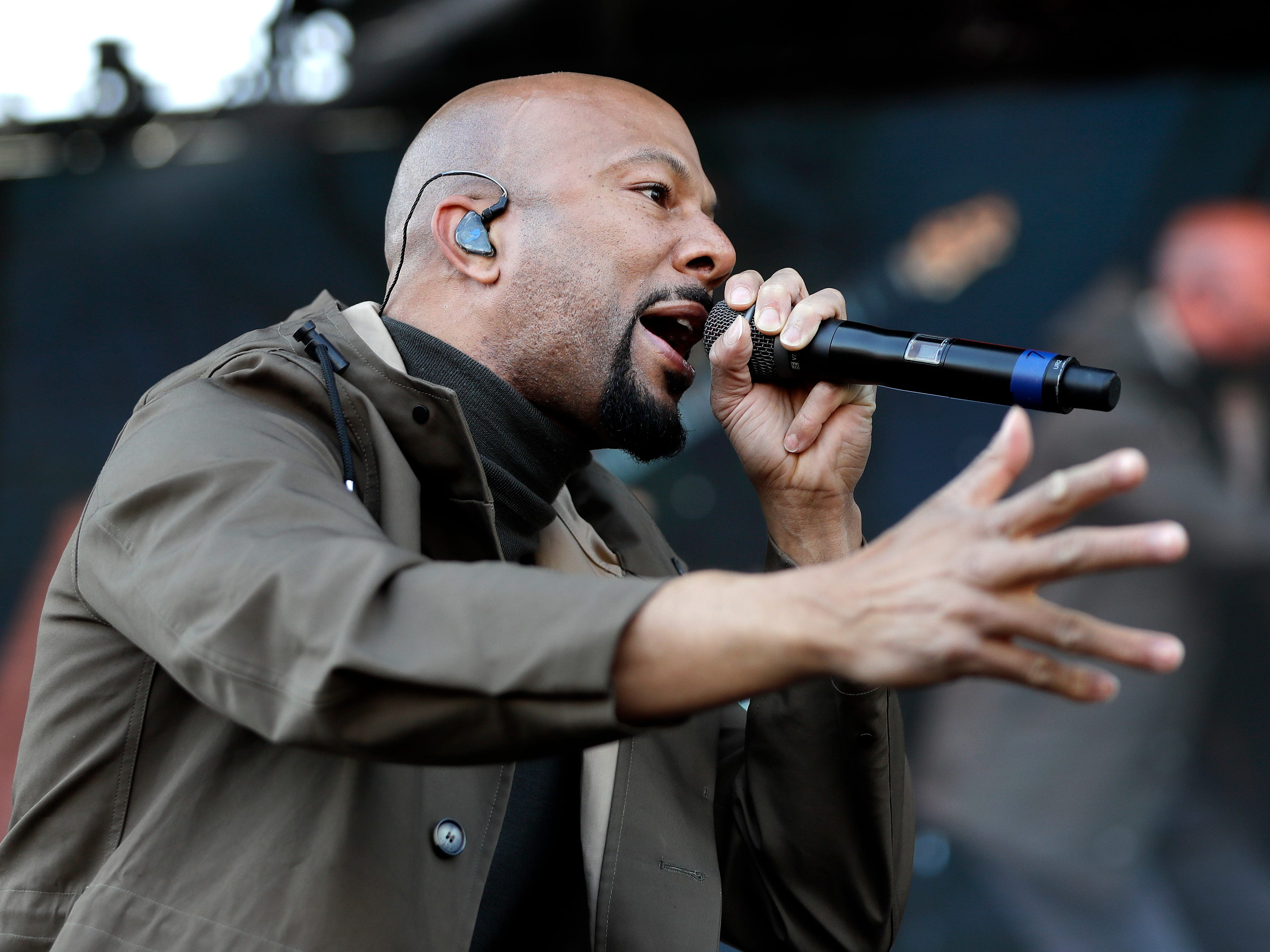 Rapper and actor Common performs at a rally commemorating the 50th anniversary of the assassination of Rev. Martin Luther King Jr. Wednesday, April 4, 2018, in Memphis, Tenn. King was assassinated April 4, 1968, while in Memphis supporting striking sanitation workers. (AP Photo/Mark Humphrey) ORG XMIT: TNMH116