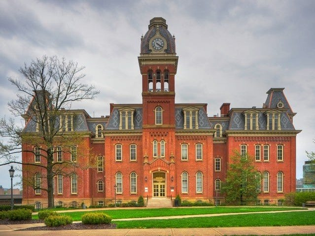 West Virginia: West Virginia University's Woodburn Hall is the campus' most well known landmark.
