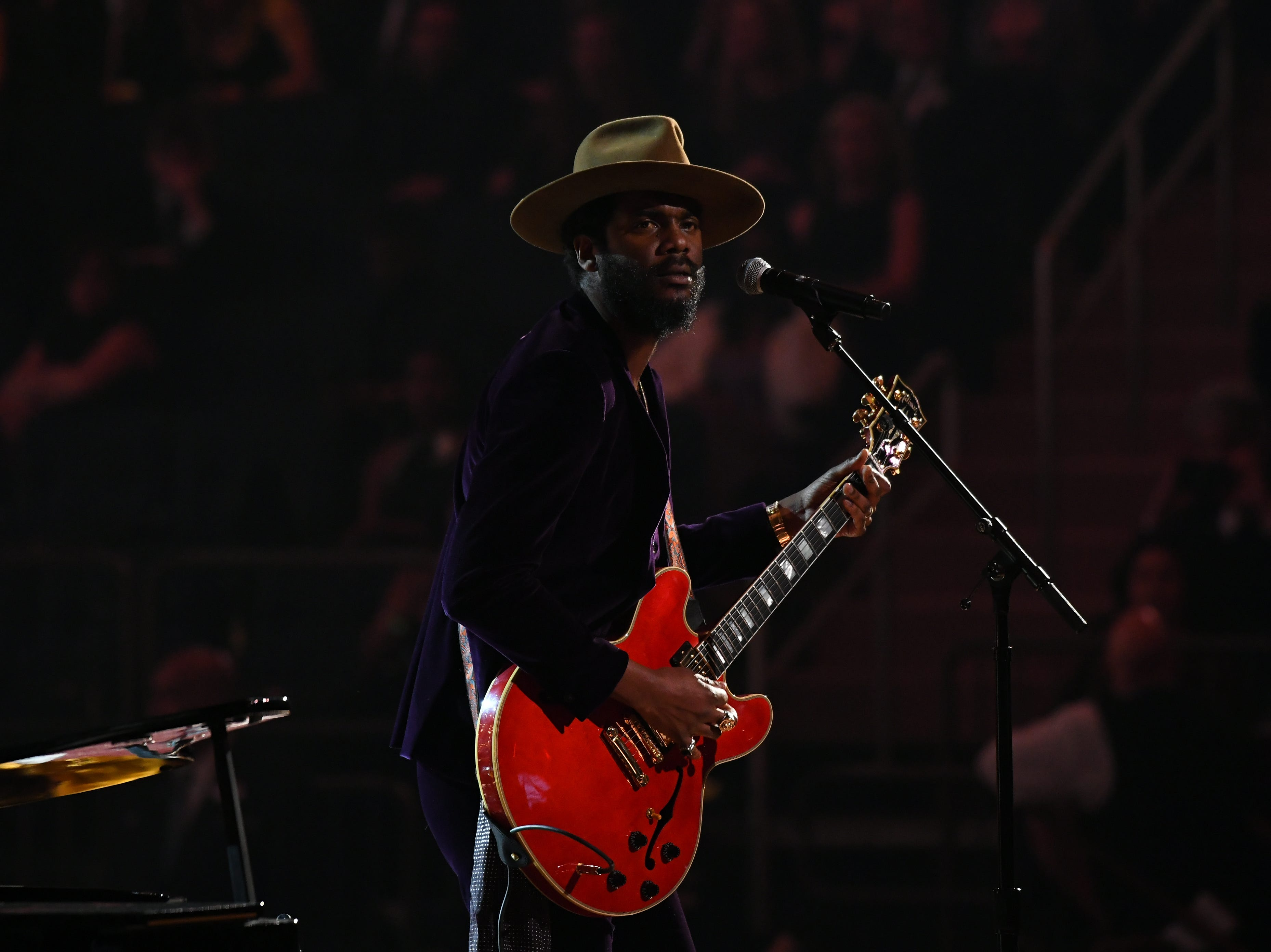 "Jan 28, 2018; New York, NY, USA; Gary Clark Jr., guitar,  present a tribute to Chuck Berry and Fats Domino, performing ""Ain't That A Shame"" and Maybellene"" during the 60th Annual Grammy Awards at Madison Square Garden. Mandatory Credit: Robert Deutsch-USA TODAY (Via OlyDrop)"