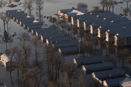 A handout image from the Nebraska National Guard shows an aerial view of flooding at Camp Ashland in Nebraska.