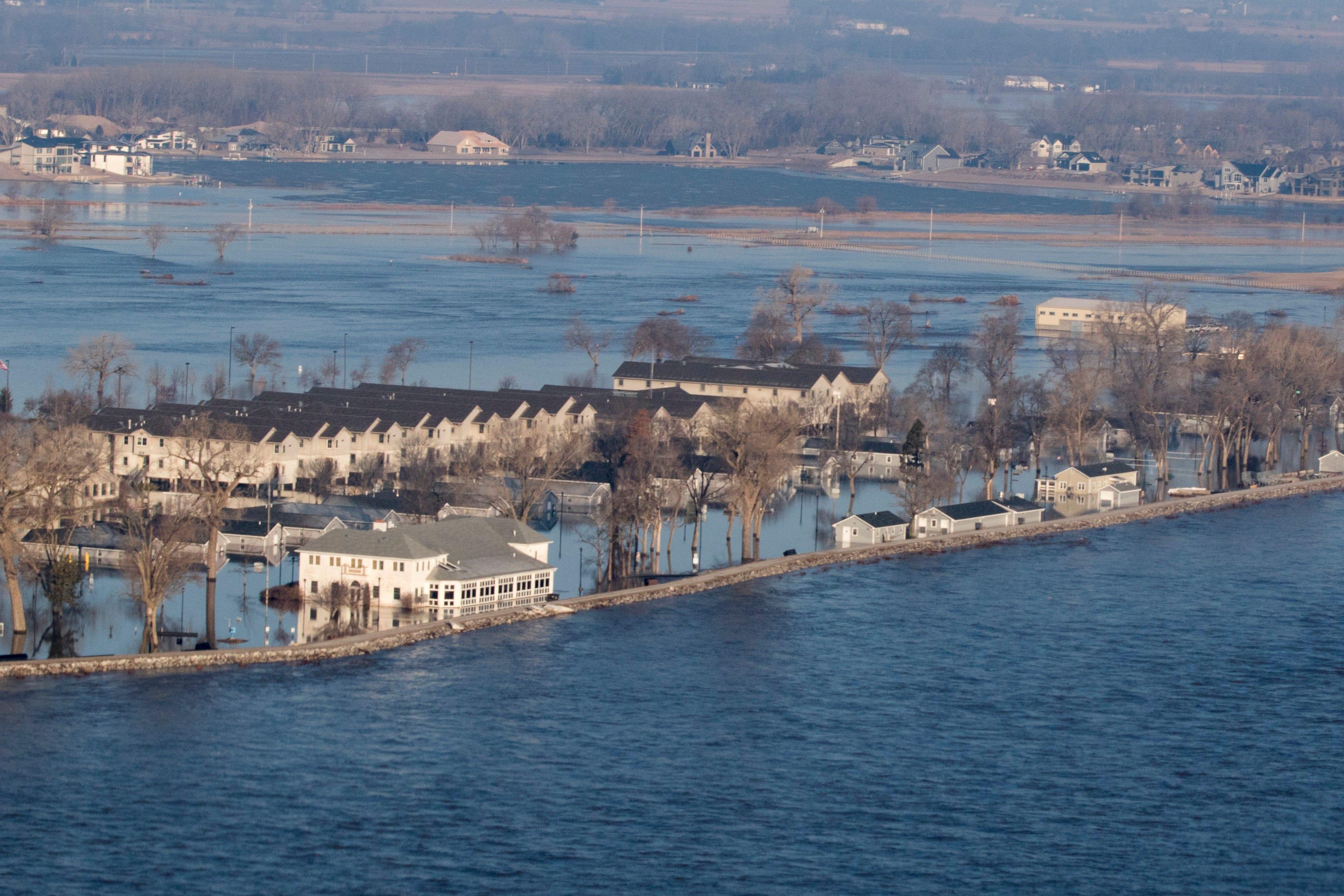 Flooding at the Camp Ashland, Nebraska in Ashland, Neb., on Sunday.