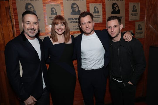 "Producer David Furnish, Bryce Dallas Howard (who plays Sheila Eileen), Taron Egerton (Elton John) and Jamie Bell (Bernie Taupin) attend a special footage presentation of ""Rocketman"" at the Troubadour."