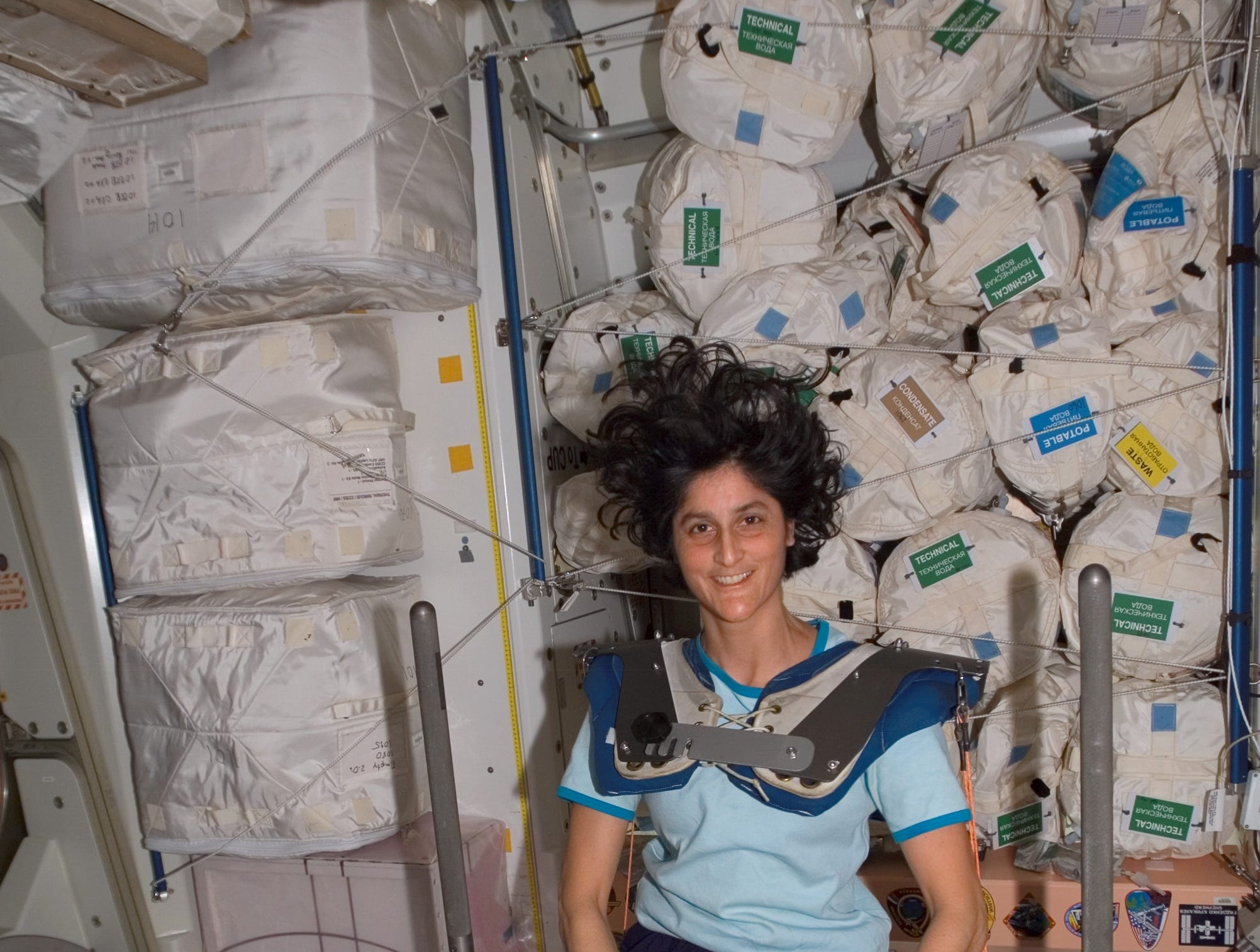 Astronaut Sunita L. Williams, Expedition 15 flight engineer, wearing squat harness pads, poses for a photo while using the Interim Resistive Exercise Device (IRED) equipment in the Unity node of the International Space Station. In addition to formerly being the only woman to complete seven spacewalks as of 2017, Williams was the first person to run a marathon in Space in 2007.
