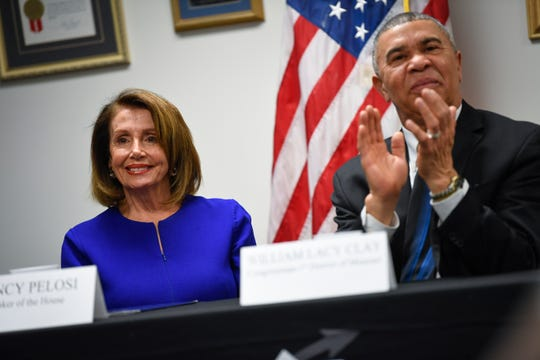 Speaker of the House Nancy Pelosi is pictured with Missouri Democratic Rep. William Lacy Clay March 18, 2019, in St. Louis.