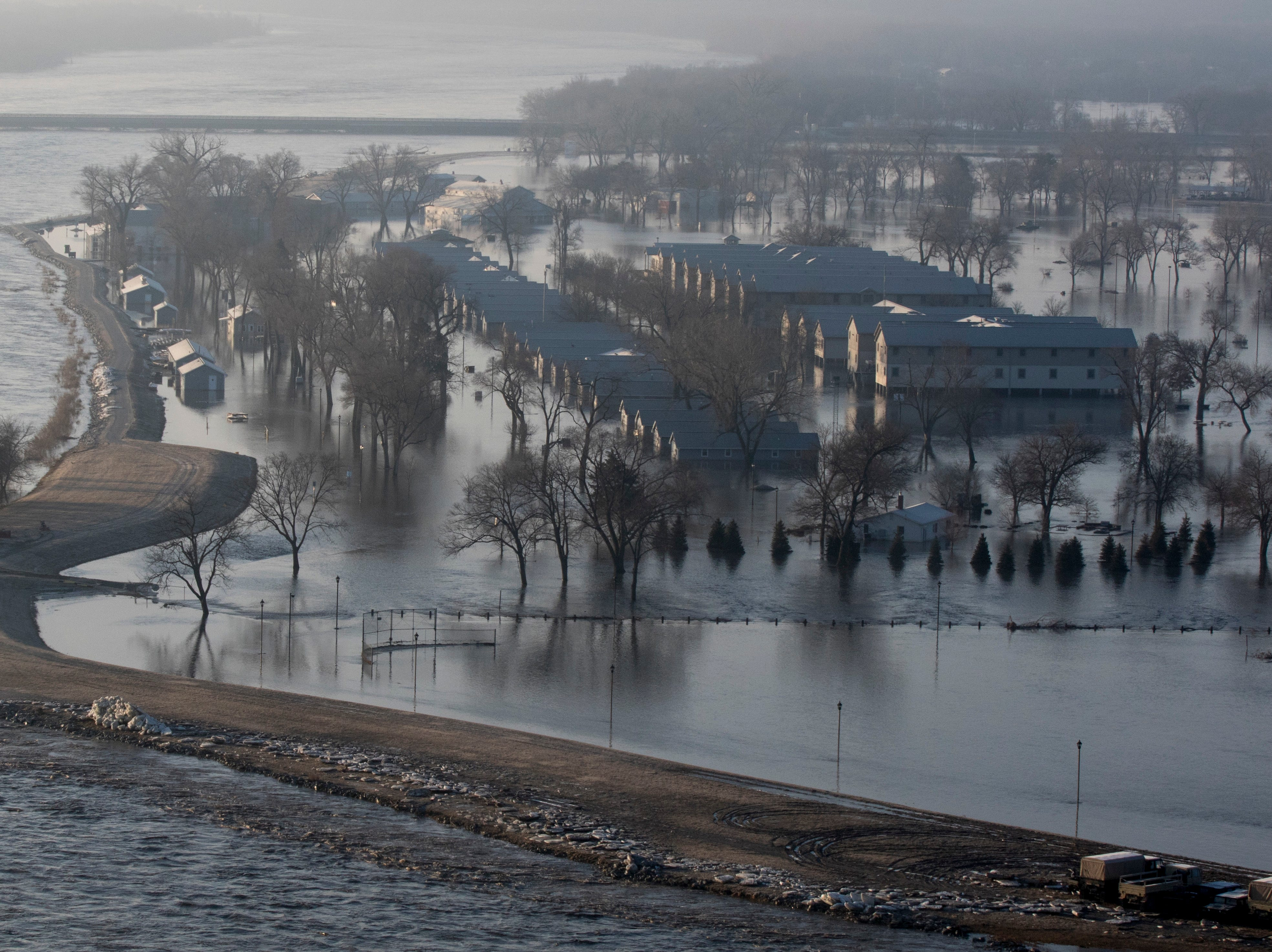 Flooding at the Camp Ashland in Ashland, Neb. on March 17, 2019. The levee to the north of the camp broke and water from the swollen Platte River poured thousands of gallons of water into the low-lying area trapping vehicles on the high ground and damaging buildings.