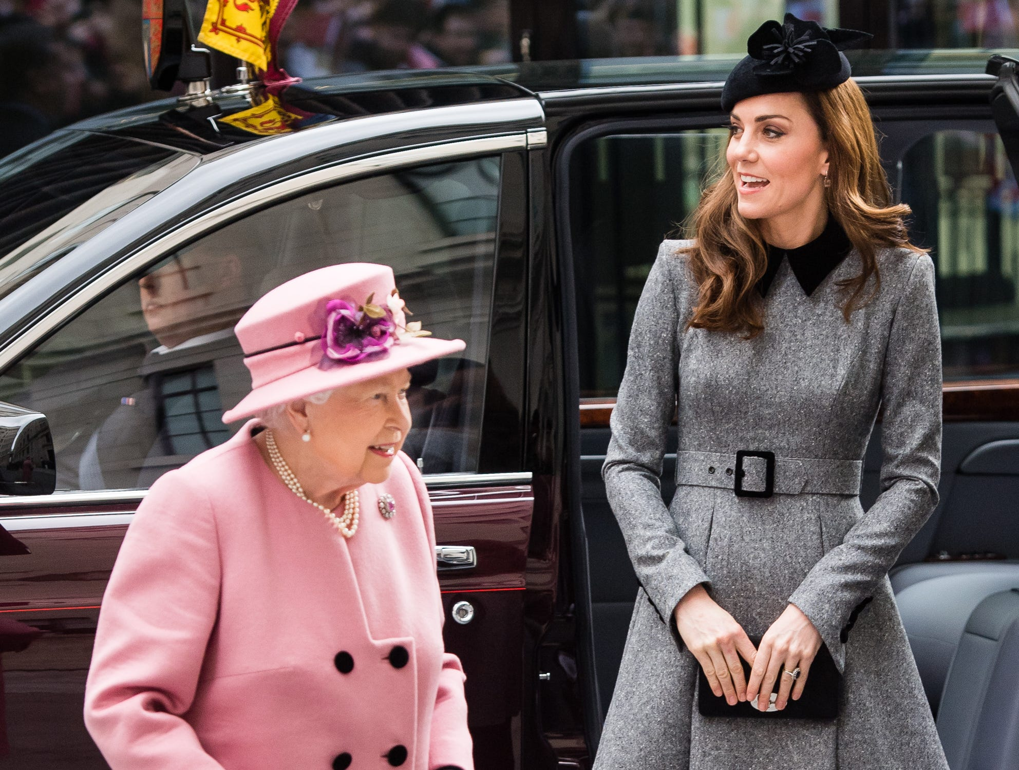 Queen Elizabeth II and Catherine, Duchess of Cambridge visit King's College London on March 19, 2019 in London, England to officially open Bush House, the latest education and learning facilities on the Strand Campus.