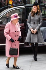 Queen Elizabeth II and Catherine, Duchess of Cambridge, officially visit the King's College London on March 19, 2019 in London, England, to attend Bush House, the newest educational and learning facility on the Strand campus open.