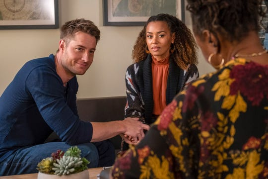 "Justin Hartley as Kevin Pearson and Melanie Liburd as Zoe on ""This Is Us."""