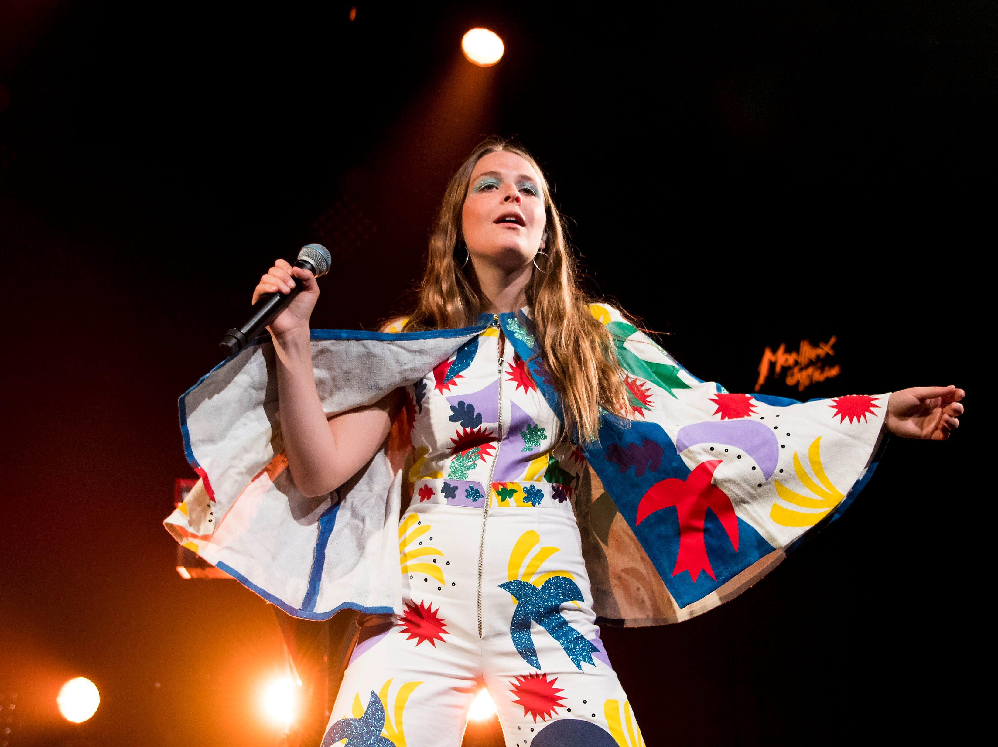 epa06060462 US singer Maggie Rogers performs on stage during the 51st Montreux Jazz Festival, in Montreux, Switzerland, 01 July 2017. The event runs from 30 June to 15 July.  EPA/JEAN-CHRISTOPHE BOTT   EDITORIAL USE ONLY ORG XMIT: MJF101