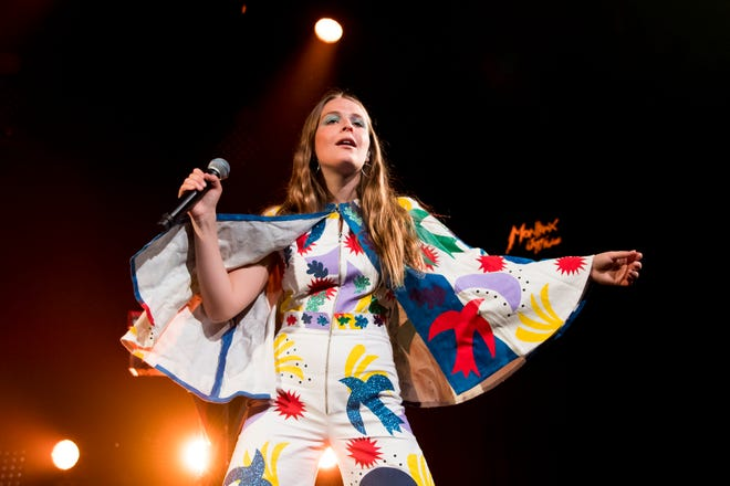 Maggie Rogers performs on stage during the 51st Montreux Jazz Festival, in Montreux, Switzerland